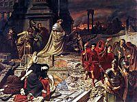 Император Нерон смотрит на полыхающий Рим