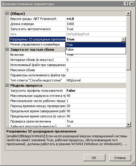 Разрешить запуск 32-х битных приложений на iis7