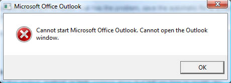 Cannot start Microsoft Office Outlook. Cannot open the Outlook window.